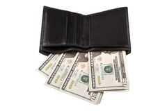 Black men`s purse with money. Isolated on white background Royalty Free Stock Images
