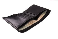 Black men`s purse with money Royalty Free Stock Images