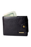 Black men`s purse with money Royalty Free Stock Image