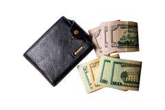 Black men`s purse with money Stock Photo