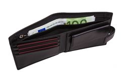 Black men`s wallet with money Royalty Free Stock Images