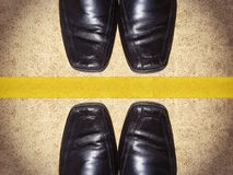 Black men shoes with copy space Royalty Free Stock Image