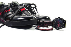 Black men shoes with red stripe, watch and bracelet Royalty Free Stock Photography