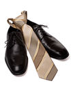 Black men shoes with tie isolated on white. Classic black shoes with tie. Isolated on white background with clipping path royalty free stock photos