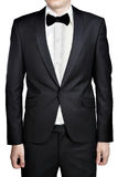 Black men wedding suit jacket, shirt and tie butterfly isolated Stock Photo