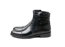 Black mens boots. White isolated Royalty Free Stock Image