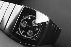 Black mens chronograph watch Stock Photography