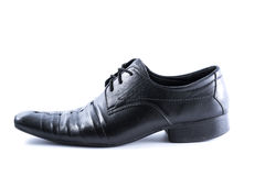 Black Mens shoes on white background Royalty Free Stock Photo