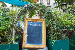 Black menu board in a frame with word Aujourd'hui (today) Royalty Free Stock Image