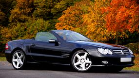 Black Mercedes Benz Convertible Coupe Sl Class Royalty Free Stock Photos