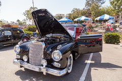 Black 1961 Mercedes Benz 300d. Laguna Beach, CA, USA - October 2, 2016: Black 1961 Mercedes Benz 300d owned by Barry Sohnen and displayed at the Rotary Club of Stock Images