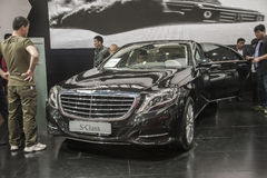 Black mercedes-benz s-class car opened door. New black mercedes-benz s-class car in 2014 the 10th zhengzhou dahe spring international auto show.take from Royalty Free Stock Photography