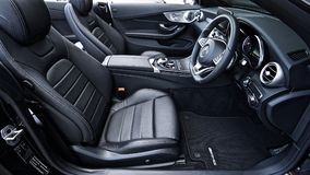 Black Mercedes Benz Sports Car Interior Royalty Free Stock Photography
