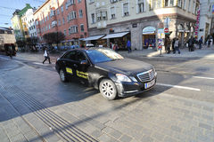 Black Mercedes taxi car in Innsbruck Royalty Free Stock Photos
