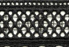 Black mesh lace material texture macro shot Stock Photos