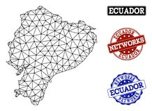 Polygonal Network Mesh Vector Map of Ecuador and Network Grunge Stamps royalty free illustration