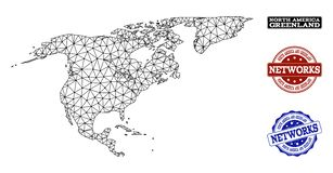 Polygonal Network Mesh Vector Map of North America and Greenland and Network Grunge Stamps vector illustration