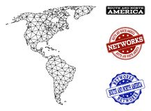 Polygonal Network Mesh Vector Map of South and North America and Network Grunge Stamps royalty free illustration