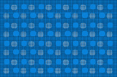 Black Mesh With White Cirlce Pattern On Blue Background. Royalty Free Stock Photo