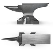 Black metal anvil, two views Stock Image