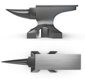 Black metal anvil, two views stock image