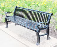 Black metal bench Stock Photo