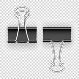 Black metal binding clips for paper money, documents. Easily editable EPS all layers arranged by Vector.  vector illustration