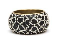 Black metal bracelet isolated on white Royalty Free Stock Photos