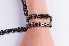 Black metal bracelet. Stock Photos