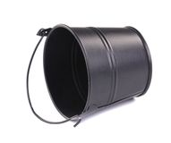 Black metal bucket with handle. Stock Photo