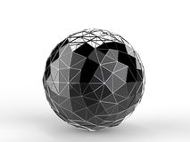 Black metal construct sphere. Isolated on white background Stock Photography