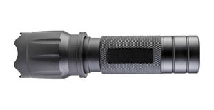 Black Metal Flashlight isolated with clipping path. Royalty Free Stock Photos
