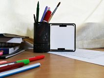 Black Metal Frame On The Study Oak Table Position 1 royalty free stock images