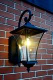 Black metal lamp on brick wall with climbing Stock Image