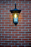Black metal lamp on brick wall with climbing Stock Images