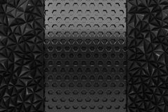 Black metal layout abstract bee hive lowpoly texture background. 3d rendering Stock Image