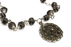 Black metal necklace with pendant Stock Photo