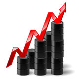 Black metal oil barrel with graph and a red arrow. Vector illustration of black metal oil barrel with finance graph and a red arrow showing an increase vector illustration