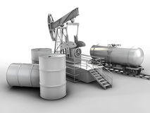 Black metal oil barrels and  pump on white background Stock Image