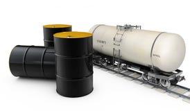 Black metal oil barrels and pump on white background vector illustration