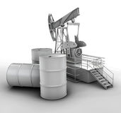 Black metal oil barrels and  pump on white background Stock Photos