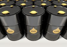 Black metal oil barrels on white background.  Royalty Free Stock Photography