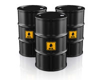 Black Metal Oil Barrels on White Background. Royalty Free Stock Images