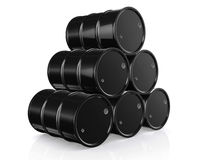 Black Metal Oil Barrels on White Background. Black Metal Oil Barrels on White Background, Industrial Concept Royalty Free Stock Images