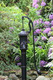 Black Metal Old Waterpump in a garden. With purple flowers in the background Stock Photos