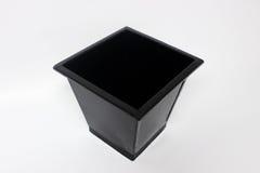 Black Metal Pail. Rectangular metal bucket in white background royalty free stock photography