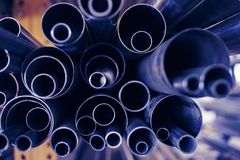 Metal pipes. A black metal pipes of various profiles Stock Photography