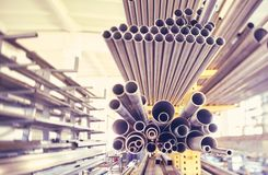 Metal pipes. A black metal pipes of various profiles Royalty Free Stock Image