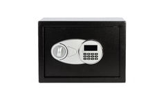 Black metal safe box with numeric keypad locked system. On white  background Stock Photos