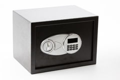 Black metal safe box with numeric keypad locked system. On white  background Royalty Free Stock Photography